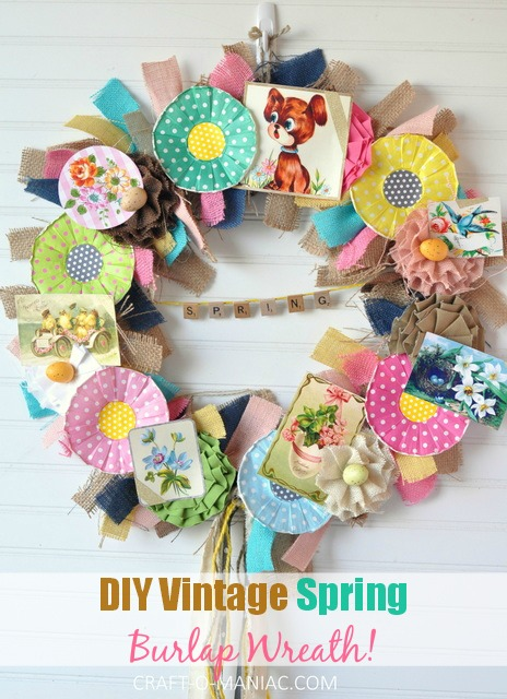 DIY Vintage Spring Burlap Wreath