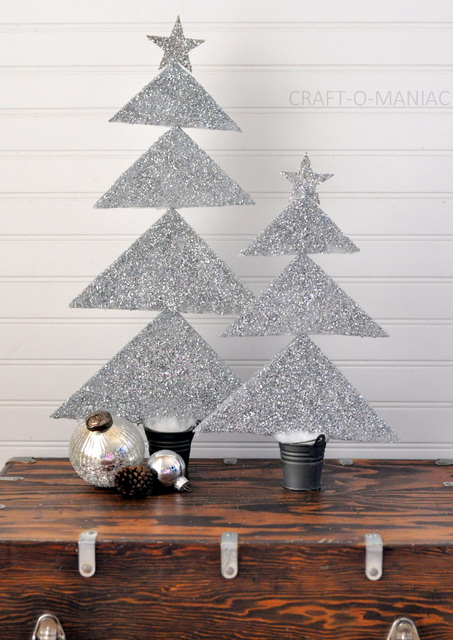 DIY~ Styrofoam Glittered Christmas Trees