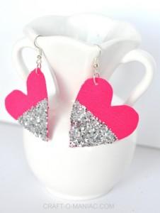 DIY Glitter and Fabric Heart Earrings