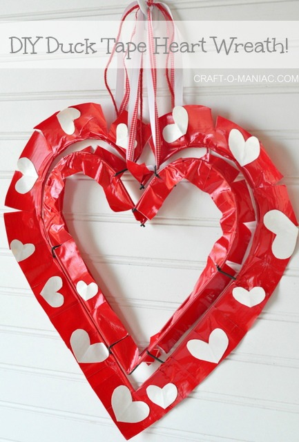 DIY Duck Tape Heart Wreath
