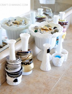 "Upcycled ""Milk Glass Jewelry Organization!"""