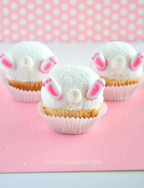 Bunny Bum Snowball Cupcakes