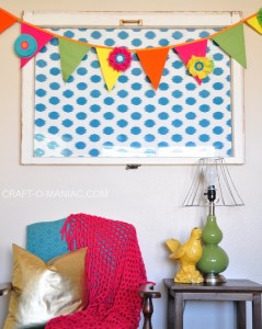 Colorful Canvas and Burlap Flower Pennant