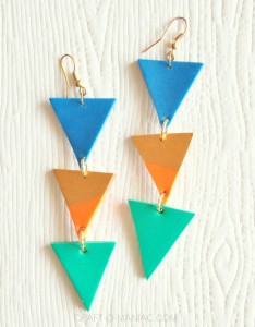 Handmade Clay Aztec Drop Earrings