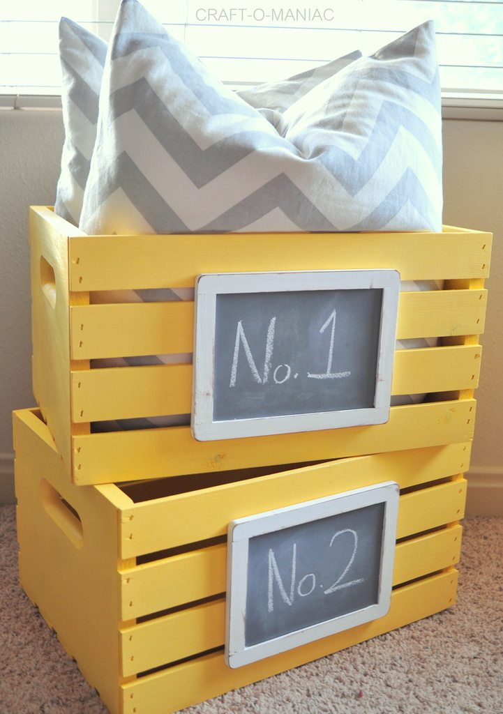 DIY Painted and Chalkboard Embellished Crates