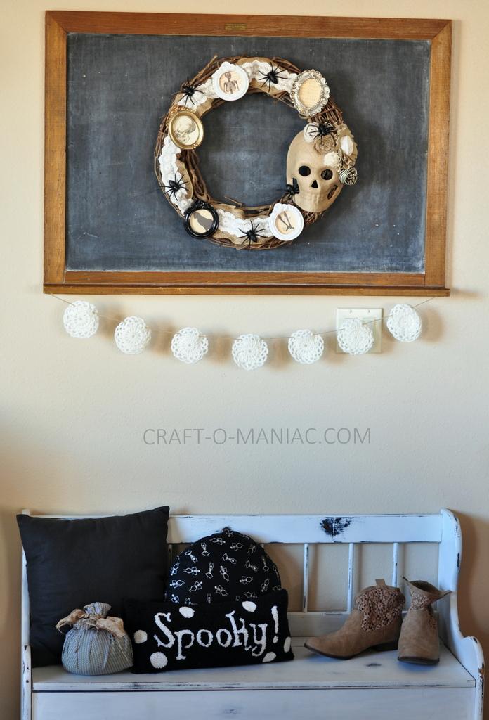 diy halloween vintage frames wreath8 - Craft-O-Maniac