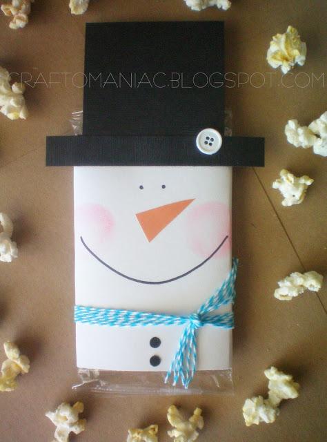 DIY neighbor|teacher gift Snowman Popcorn Covers