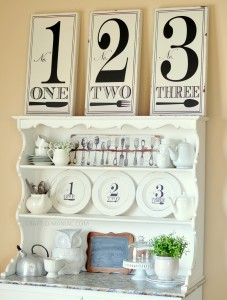 Black and White Hutch Decor