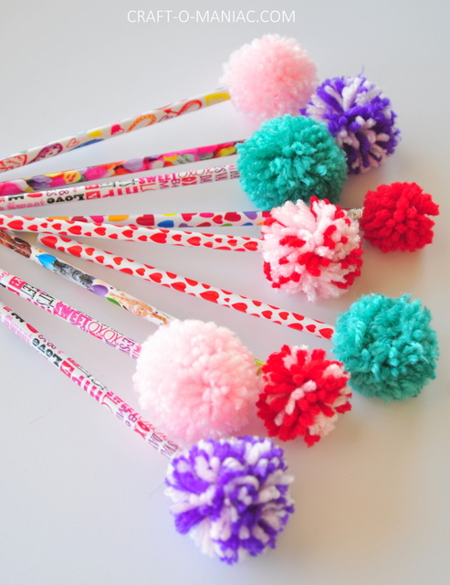 DIY Yarn Pom Pom Pencils