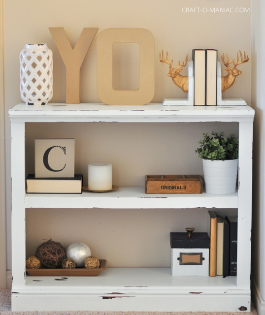 DIY White Chalk Paint Bookshelf