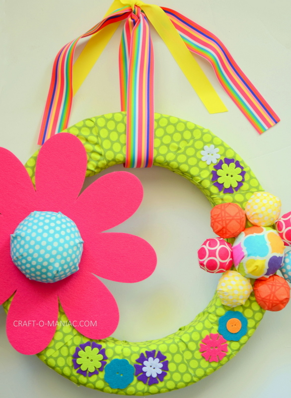 DIY Bright Colored Flower Wreath