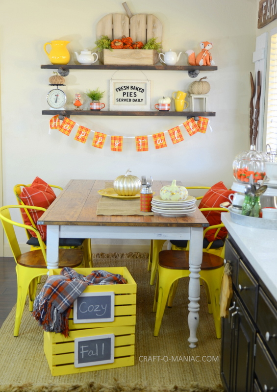 Plaid Fall Kitchen Decor