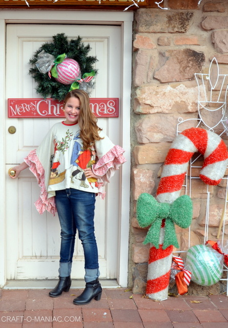 Darling Christmas Ruffled Poncho for Girls