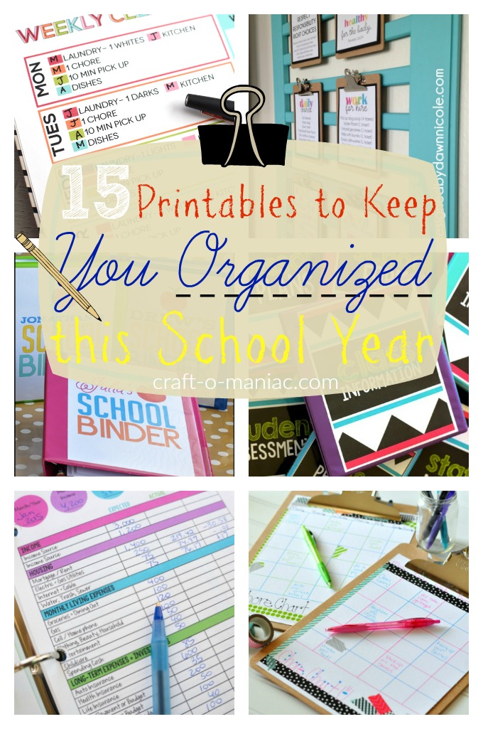 15 Printables to Keep You Organized this School Year