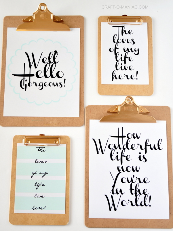Clipboard Wall Art with Free Printables