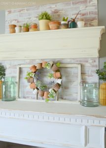 Terra Cotta Pot Mantel and Cottage Decor