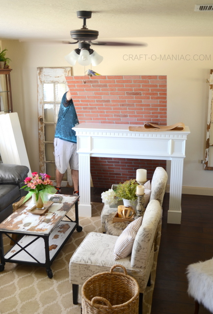diy faux brick mantel1